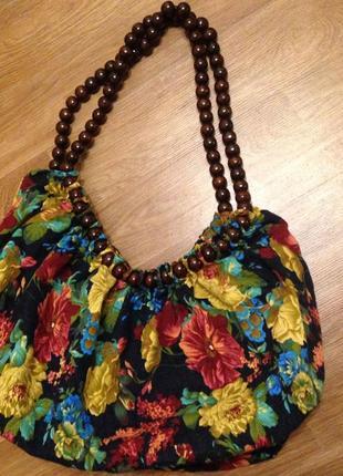 Красивая текстильная сумка-мешок крупные цветы на молнии эко хлопок лён летняя лето пляж спорт