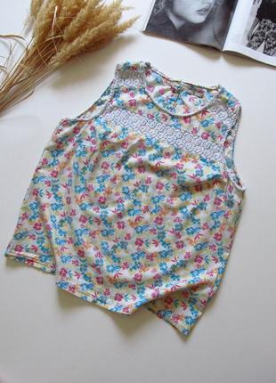 Легкая блуза/ майка / принт цветы/ состояние хорошее ☑️