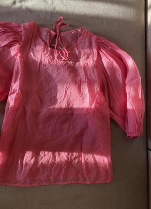 Zara блуза розовая рубашка