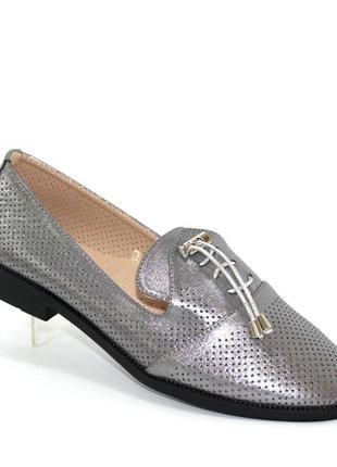 Летние женские туфли с фиксатором на подъёме баталы