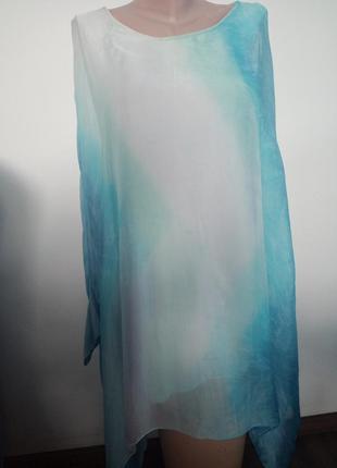 Воздушная шелковая блуза большого размера