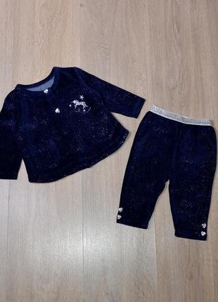 Велюровый костюм jainco 3-6 мес. красивый с блестками блестящий нарядный набор комплект спортивный красивый для девочки штаны кофта штанці кофтинка