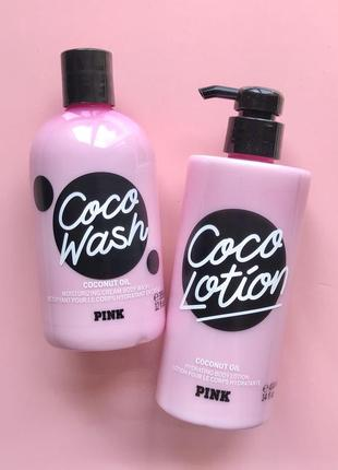 Набор гель для душа и лосьон victoria's secret pink coco lotion coconut oil