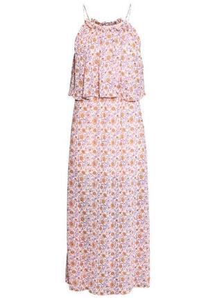 Платье сарафан в цветочки на бретелях с рюшей,нюд,миди