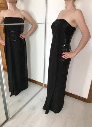 Нереально красивое и элегантное нарядное платье макси бюстье с паетками