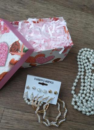 Подарочный набор девушки: ожерелье / бусы + набор сережек под жемчуг. подарок женщине.