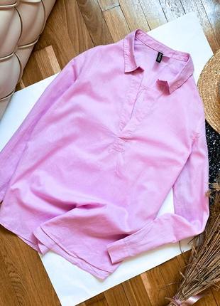 Розовая рубашка летняя легкая сорочка блуза кофта