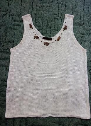 Белый вязаный  топ майка с оригинальным декором! tawana collection