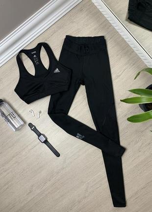 Adidas адидас  костюм топ и женские лосины леггинсы спортивные оригинал фитнес тренировочные чёрные