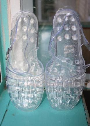 Прозрачные силиконовые резиновые босоножки мыльницы