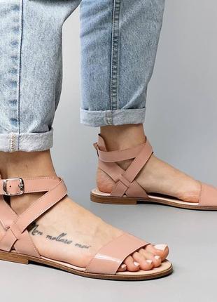 Босоножки боссоножки сандалии шлепанцы бежевые эко кожа пудровые