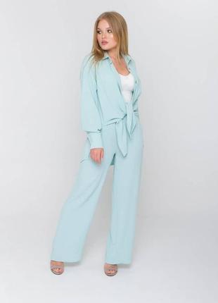 Легкий летний брючный костюм, рубашка и штаны палаццо цвета тифанни, сорочка и брюки мятного цвета, жіночий комплект