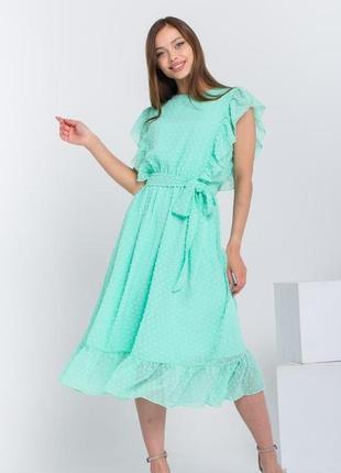 Шифоновое воздушное платье с рюшами, платье в горошок, летнее легкое платье мятного увета, жіноча літня сукня