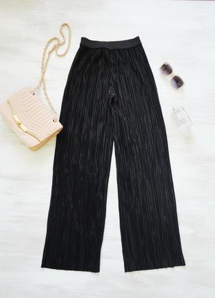 Чёрные брюки штаны клёш плиссе плиссированные