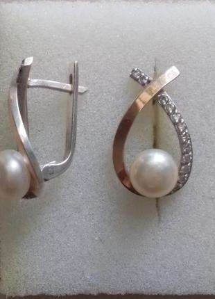 Серебренные  серьги  с  натуральным  жемчугом и напылением  золота.