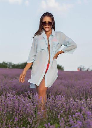 Пляжная рубашка туника норма и батал + подарок*