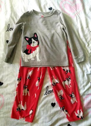 Теплая пижама флисовая 5т