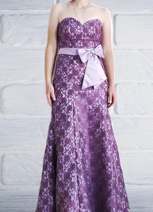 Вечернее платье без бретелек с корсетом размер xs s