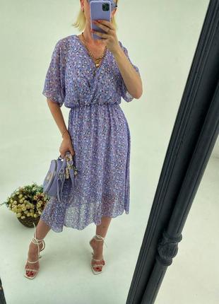 Нежное , воздушное летнее платье из шифона , талия на резинке , тканевый поясок в комплекте 🤩