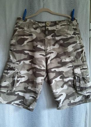 Мужские летние, легкие, джинсовые, камуфляжные шорты, бермуды.100% котон.