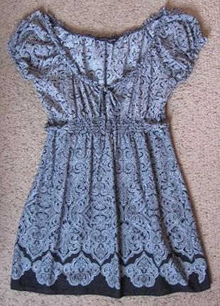 Платье хб летнее черно-белое с большим декольте