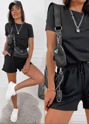 Летний стильный костюм, комплект шорты и футболка