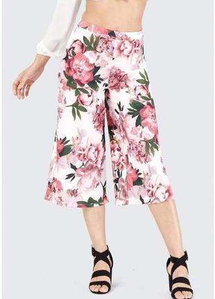 Брюки кюлоты в цветочный принт с высокой эластичной талией штаны в крупный 3d цветочный принт