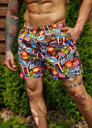 Мужские летние пляжные шорты для плавания пляжа принт dsquared
