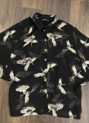 Оверсайз блуза с журавлями