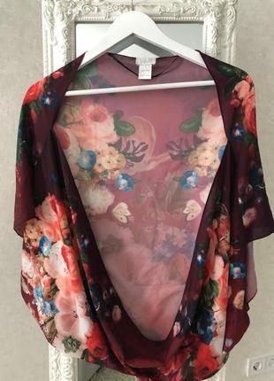 Яркая цветочная блузка-болеро