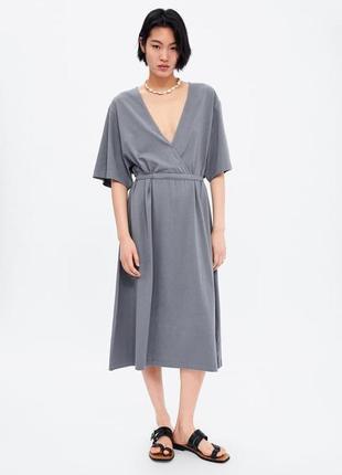 Актуальное летнее трикотажное платье с поясом от zara
