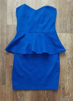 Актуальное платье с баской синего цвета супер цена распродажа красивое приталенное нарядное яркое стильное женское летняя осенняя весенняя зимняя