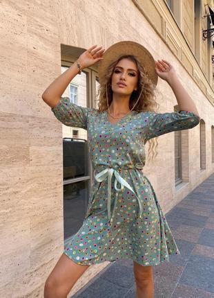 Платье летнее женское мини короткое легкое свободное белое беж синее