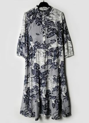Свободное вискозное платье в принт вискоза