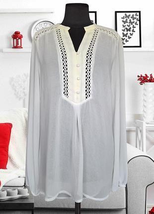 Блуза шифоновая с кружевной отделкой