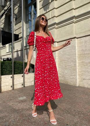Платье красное миди женское
