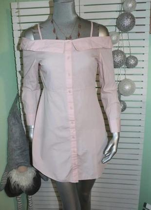 Розовое котоновое платье new look