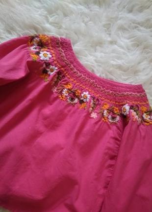 Котоновая блуза кофта с вышивкой h&m