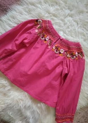 Котоновая блуза кофта с вышивкой h&m3 фото