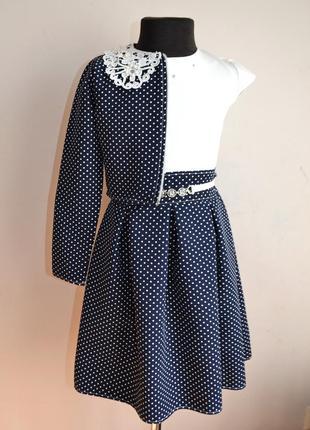 Школьное детское платье для девочки от 5 до 10 лет, с пиджачком, костюм2 фото