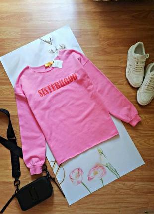 Женский молодежный новый брендовый розовый свитшот next - размер 42-44
