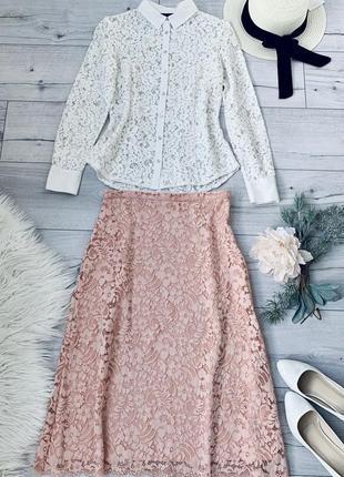 Кружевной комплект юбка миди зара и белая блуза из высококачественного кружева