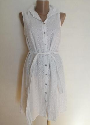 Платье с вышивкой прошва, на пуговицах, платье рубашка легкое летнее