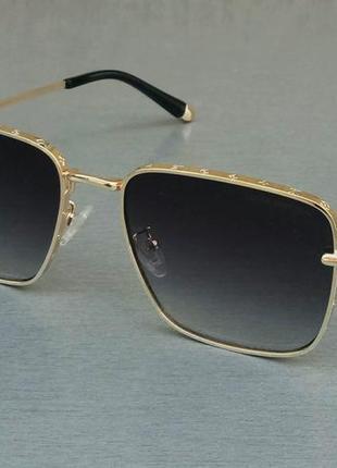 Louis vuitton очки женские солнцезащитные темно серый градиент в золотом металле