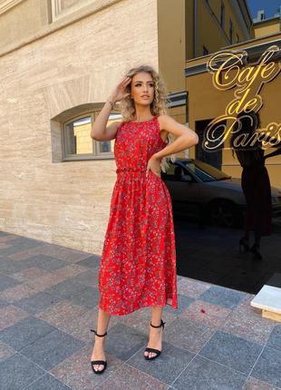Платье летнее женское миди длинное легкое свободное черное красное