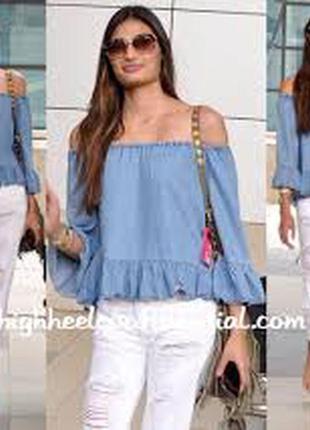 Zara woman джинсовая кофточка -топ на плечи с рюшей
