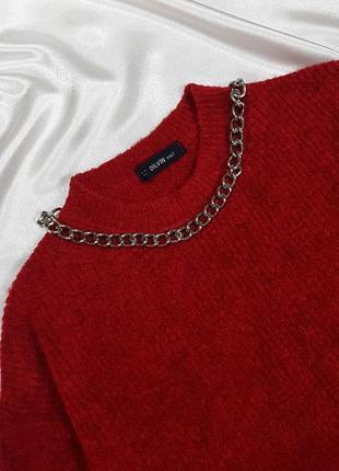 Теплый свитер - оверсайз с объмными рукавами dilvin10 фото