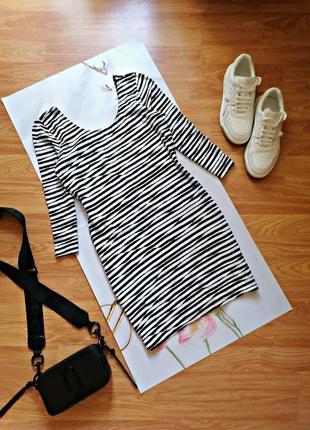 Женская трикотажная брендовая туника - мини платье в полоску h&m - размер 46