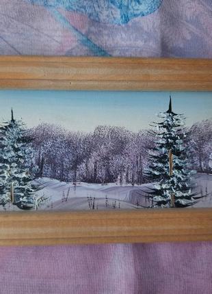 """Миниатюрная картина """"зимний пейзаж"""", художник мицкан."""