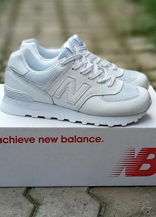 Женские кроссовки new balance 574 белые,кожаные